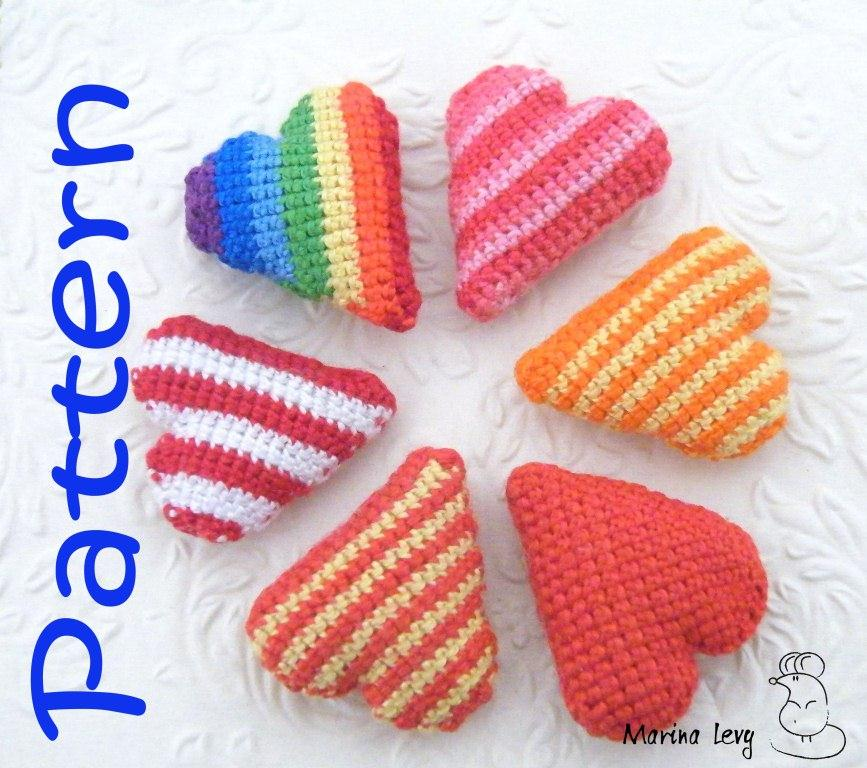 Amigurumi Heart Tutorial : Crocheted Striped Heart pattern - Marina Levys Handmade ...